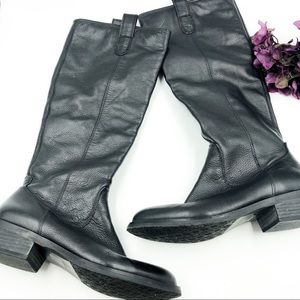 Arturo Chiang   Kanie Black Leather Riding Boots